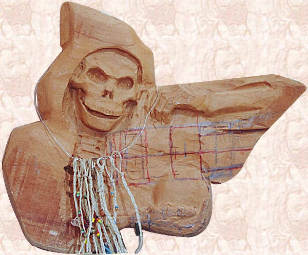 Smiling skull guitar bass violin maker custom art carving